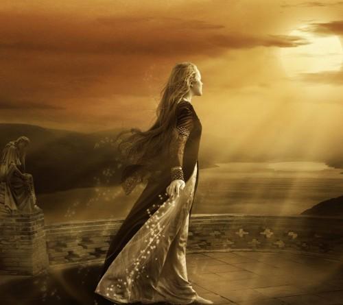 Long Blonde Beauty In A Castle